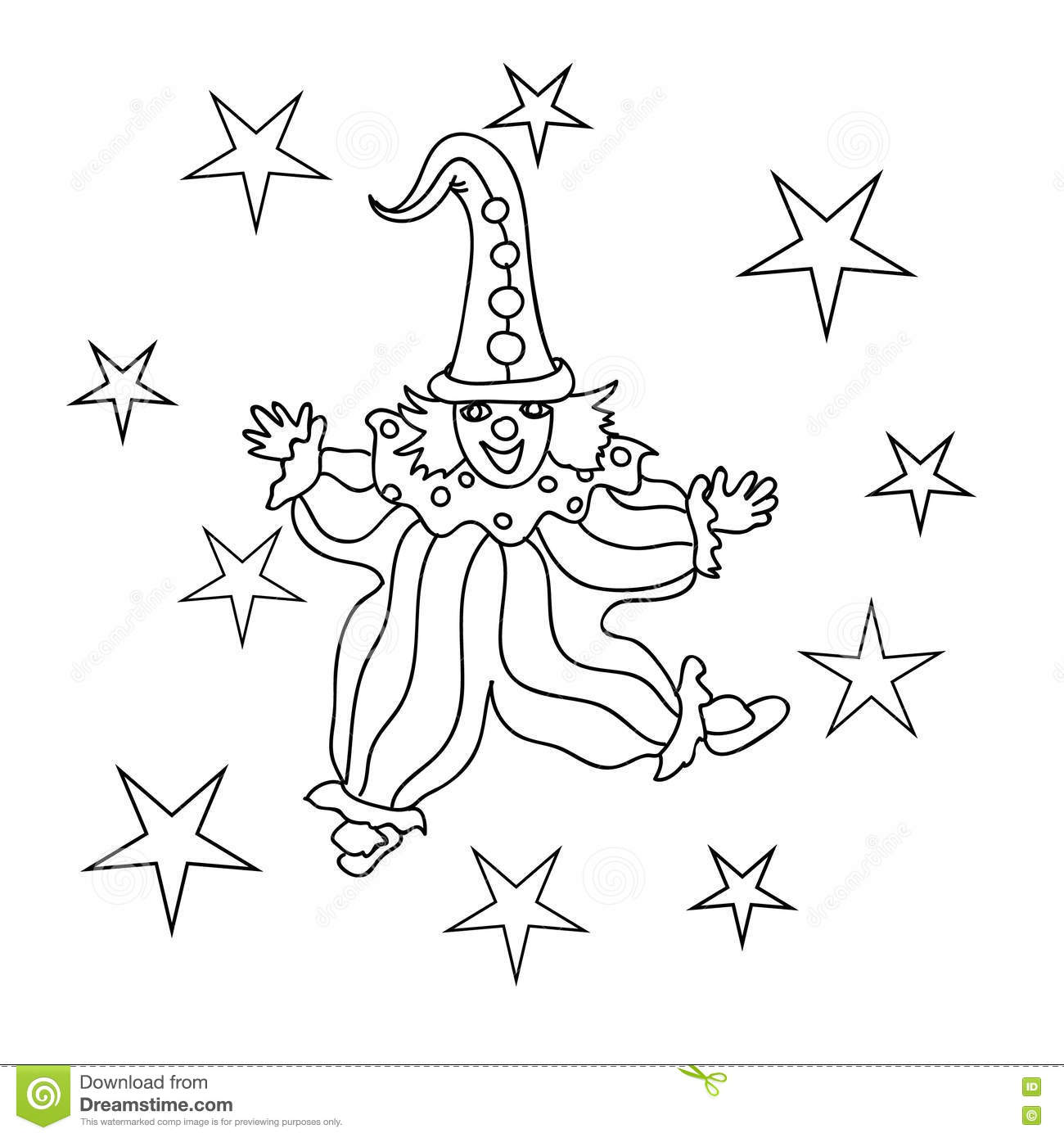 Happy Clown Kids Coloring Page Stock Illustration - Illustration of ...
