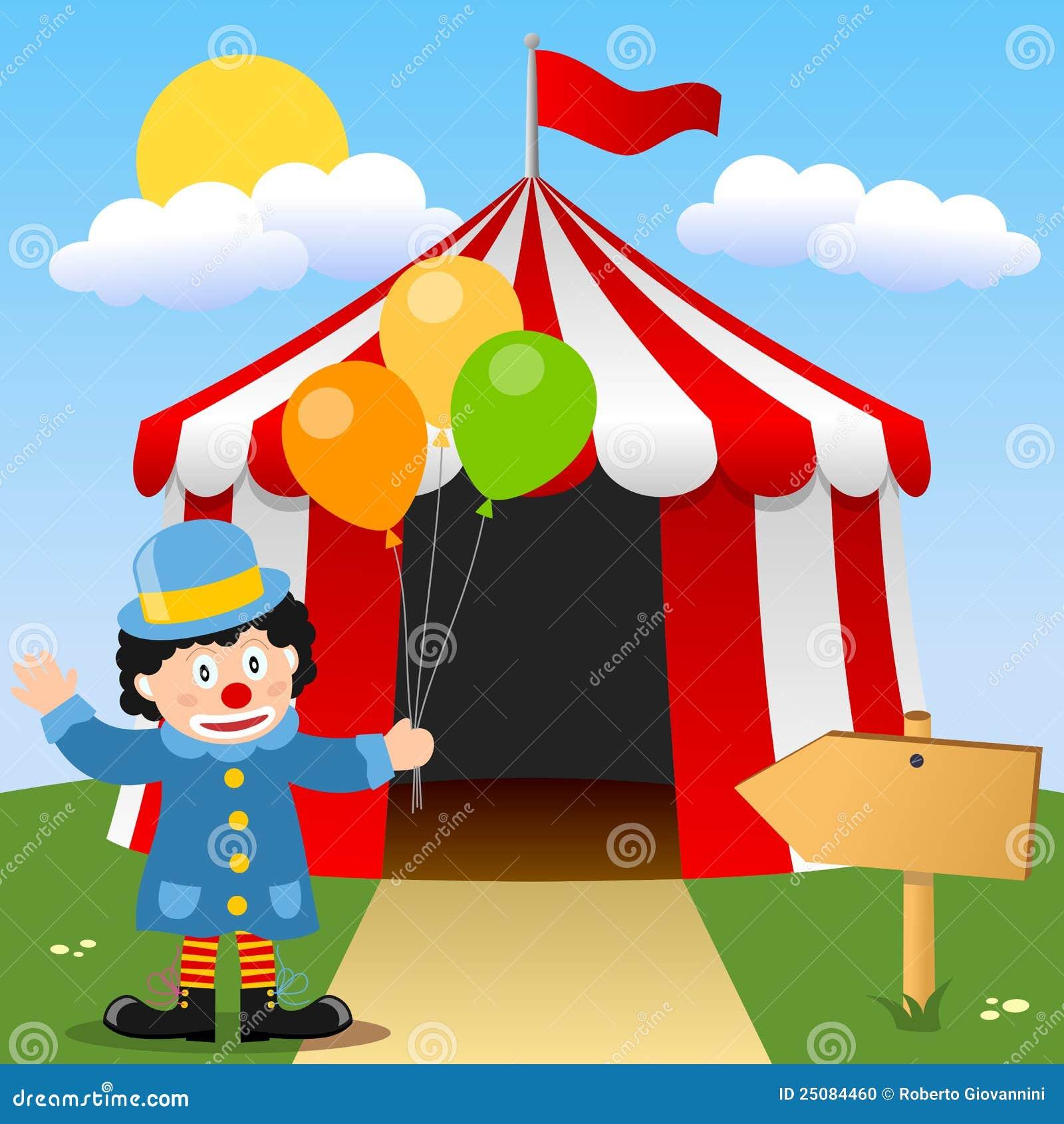 Happy Clown near Circus Tent