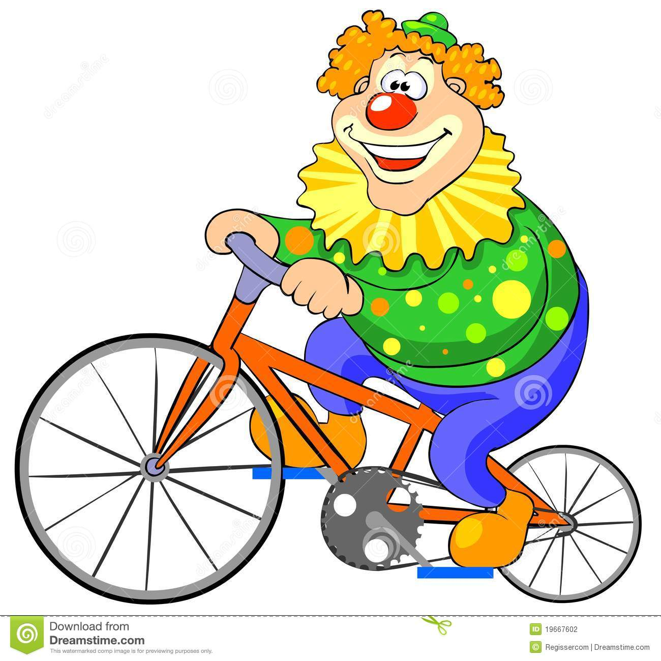 Happy Clown Riding On A Bike. Stock Vector - Illustration ...