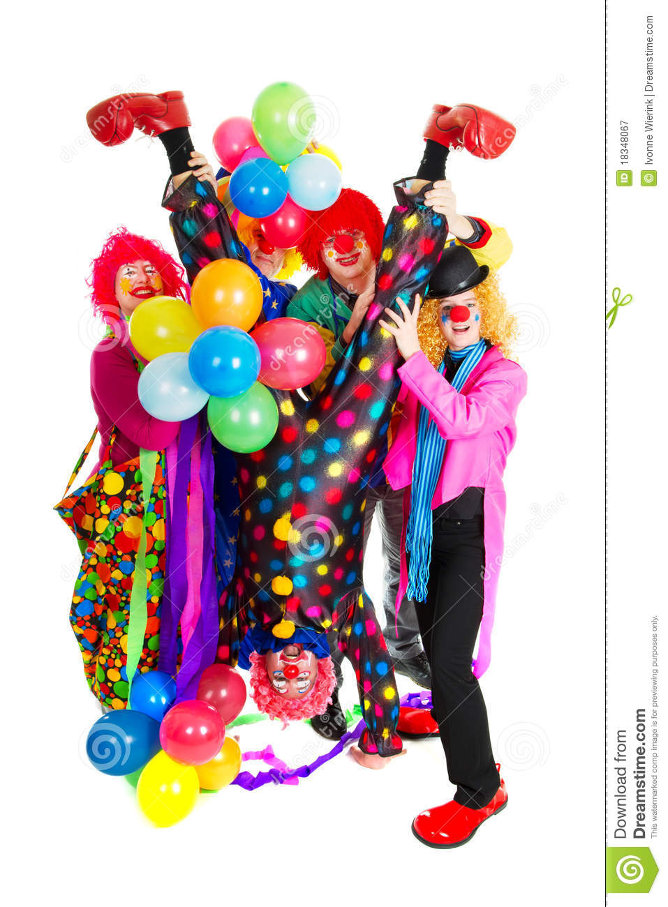 Happy clowns stock image. Image of five, group, comic ...