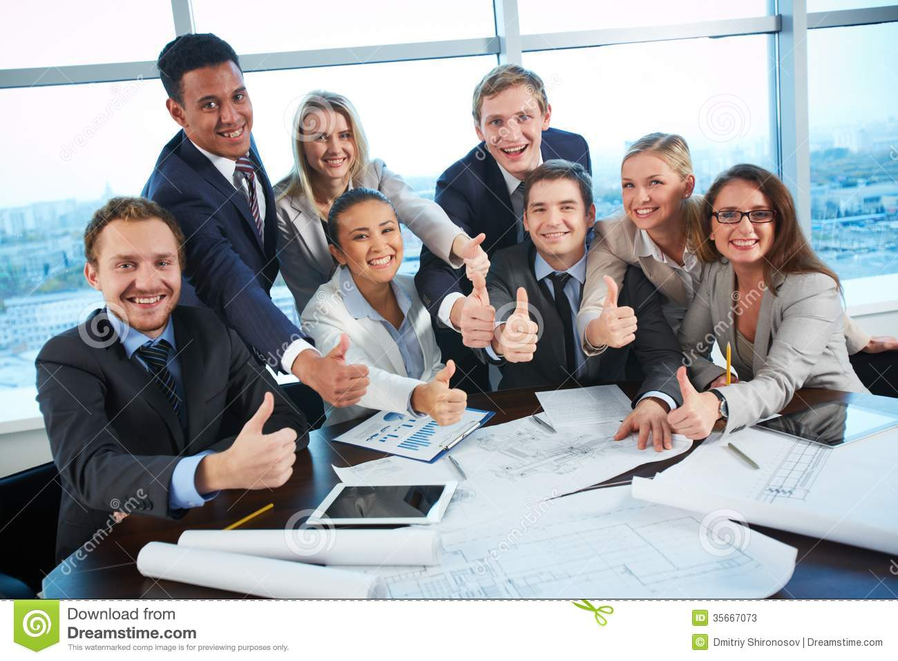 Happy co-workers stock image. Image of businessman ...
