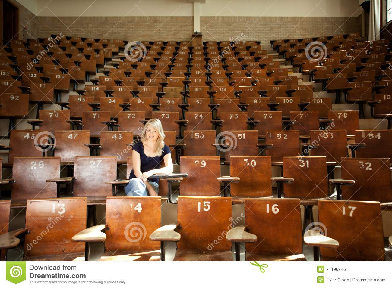 Happy College Student in Lecture Hall