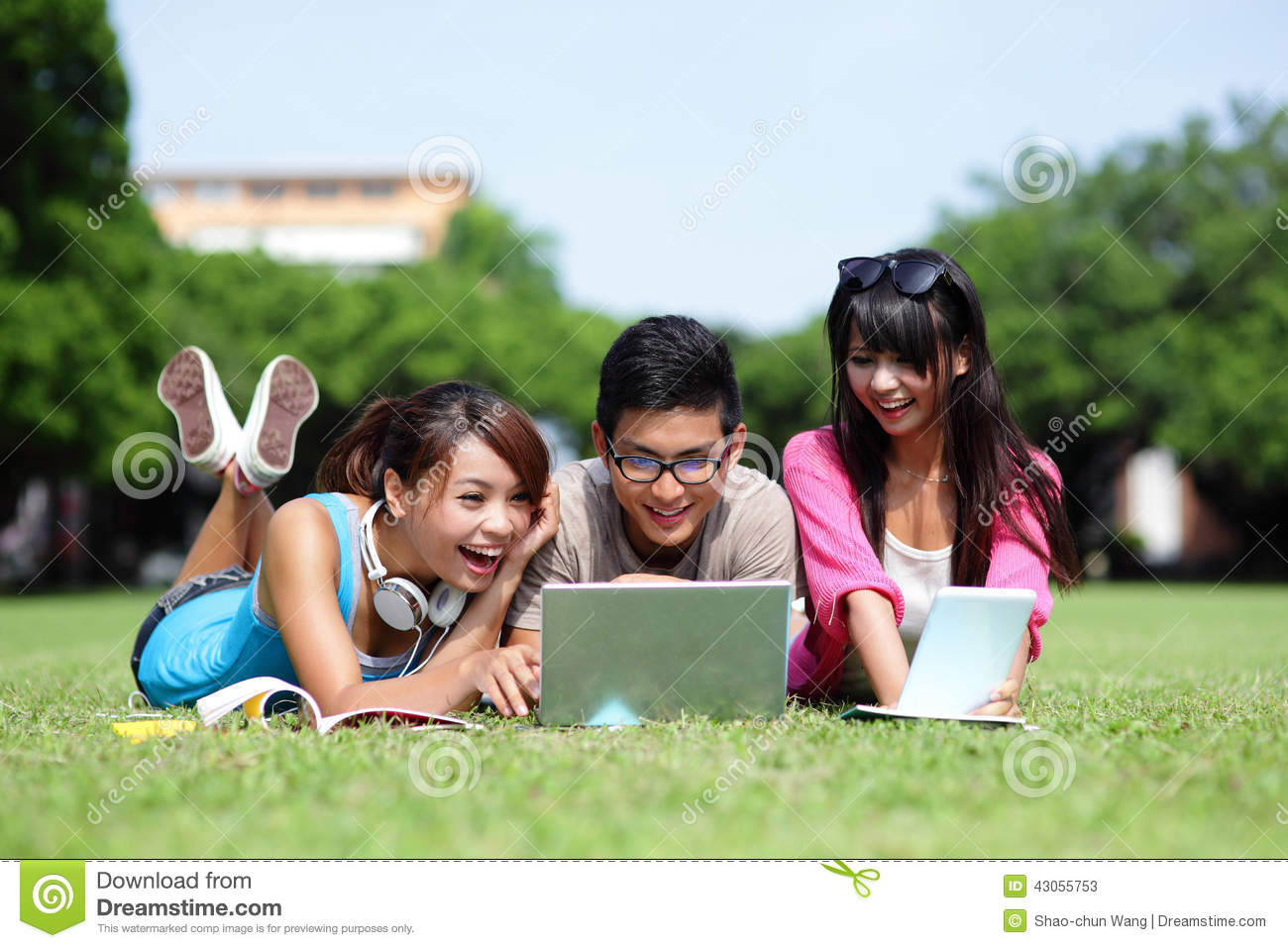 Happy College Students Using Computer Stock Photo Image