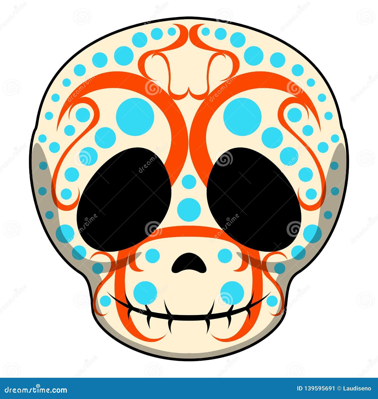 Happy Colored Mexican Skull Cartoon Stock Vector ...