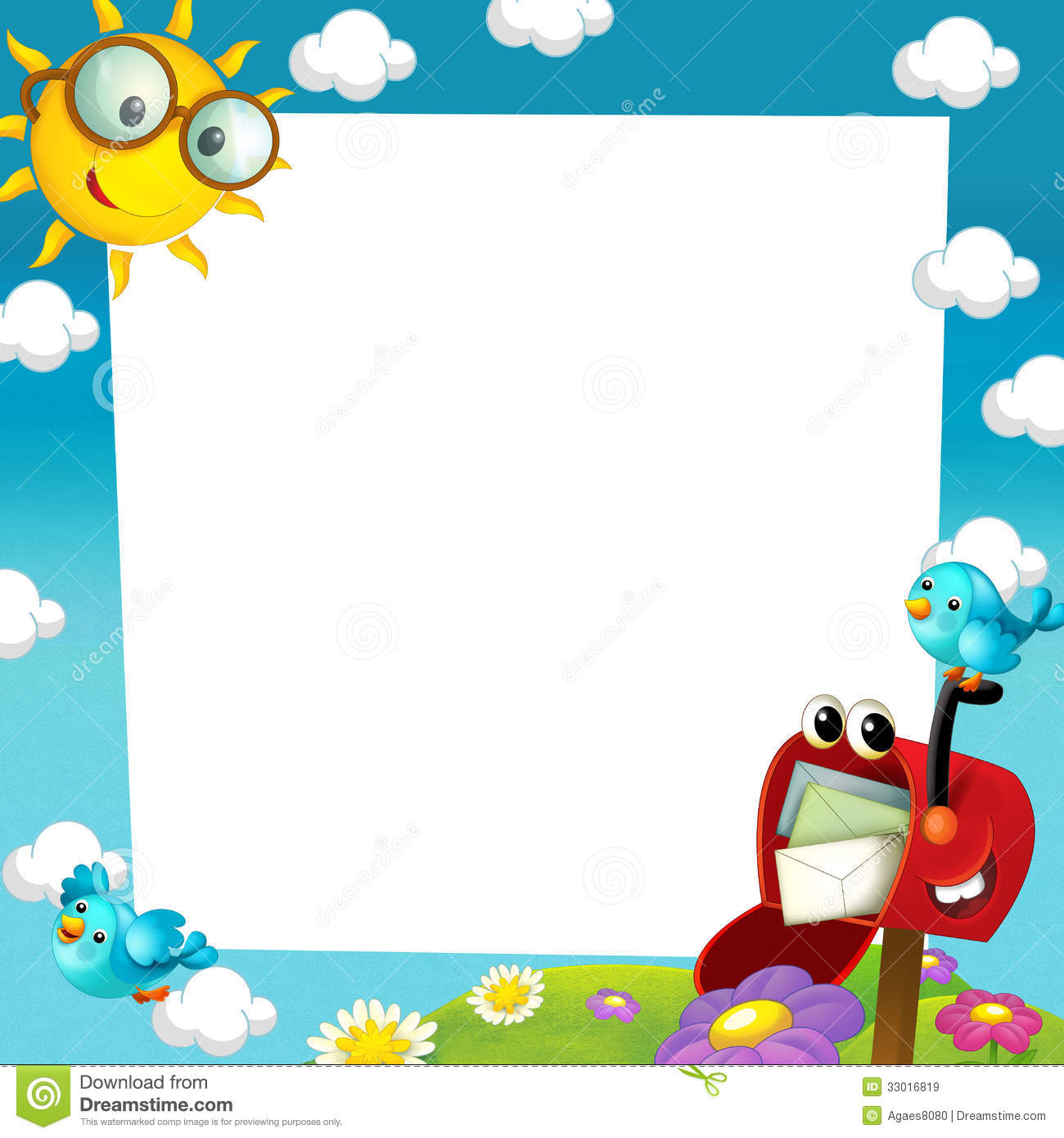 happy and colorful frame for the children stock
