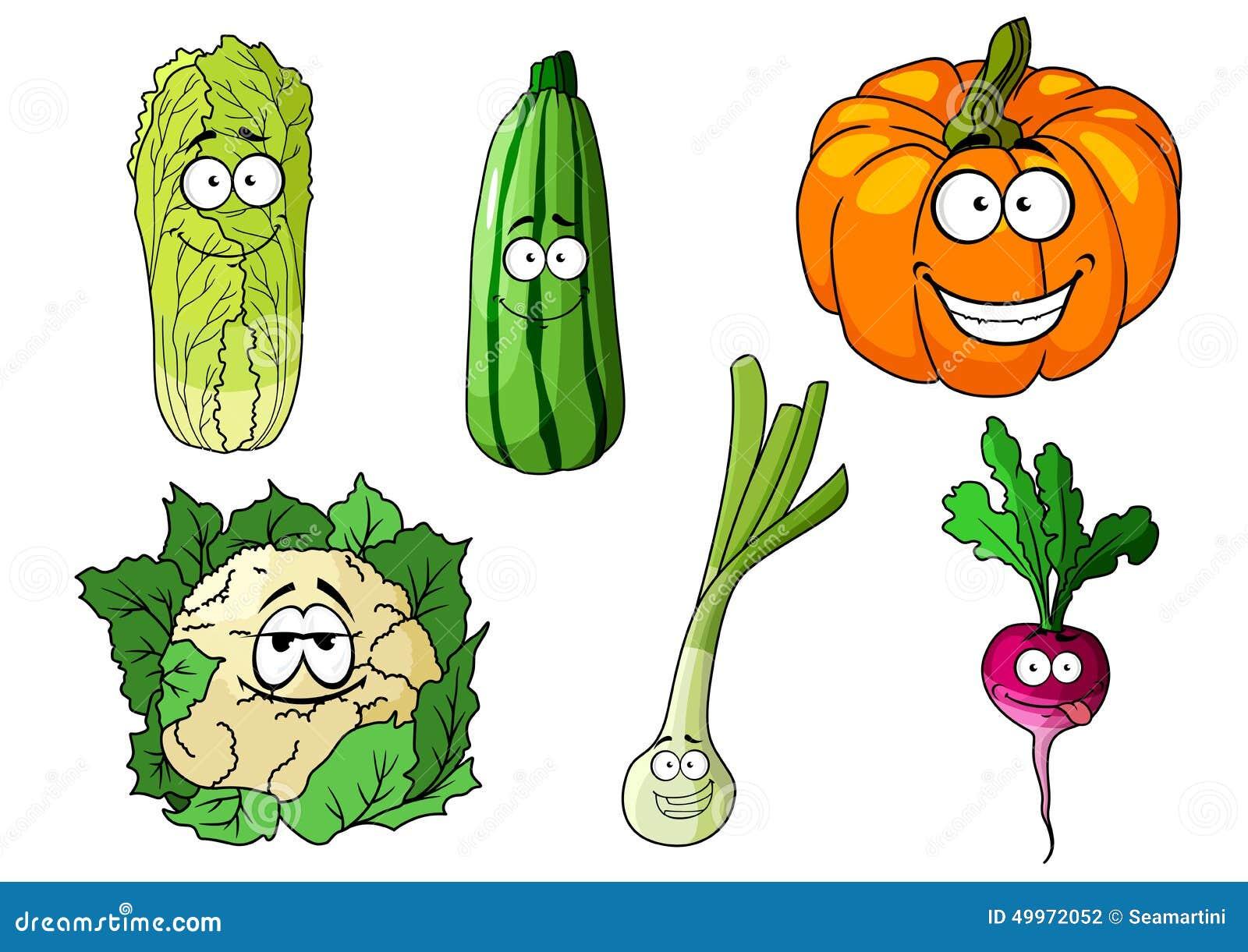 Happy Colorful Fresh Cartoon Vegetables Stock Vector ... Happy Vegetables