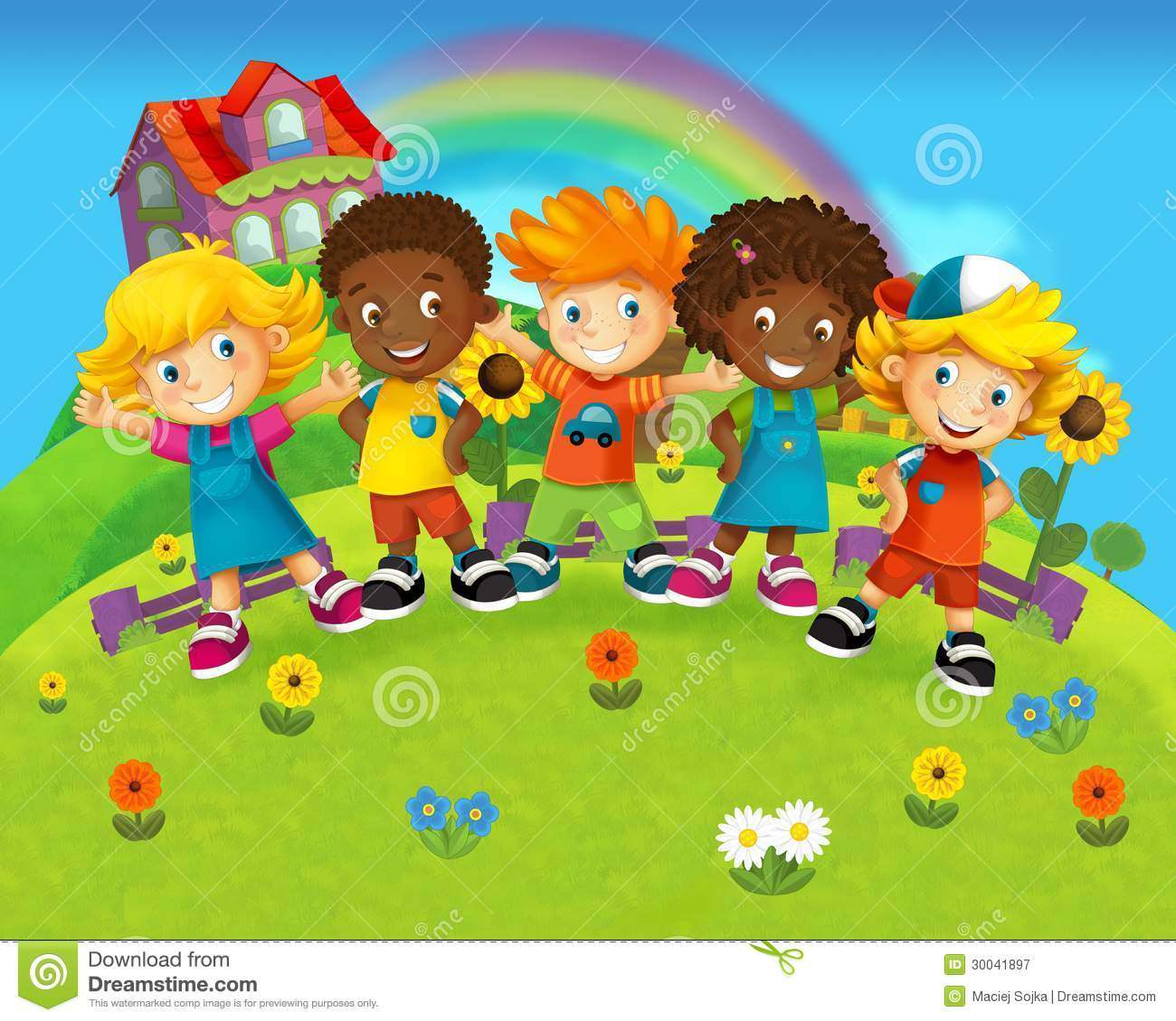 The Group Of Happy Preschool Kids - Colorful Illustration For The ...