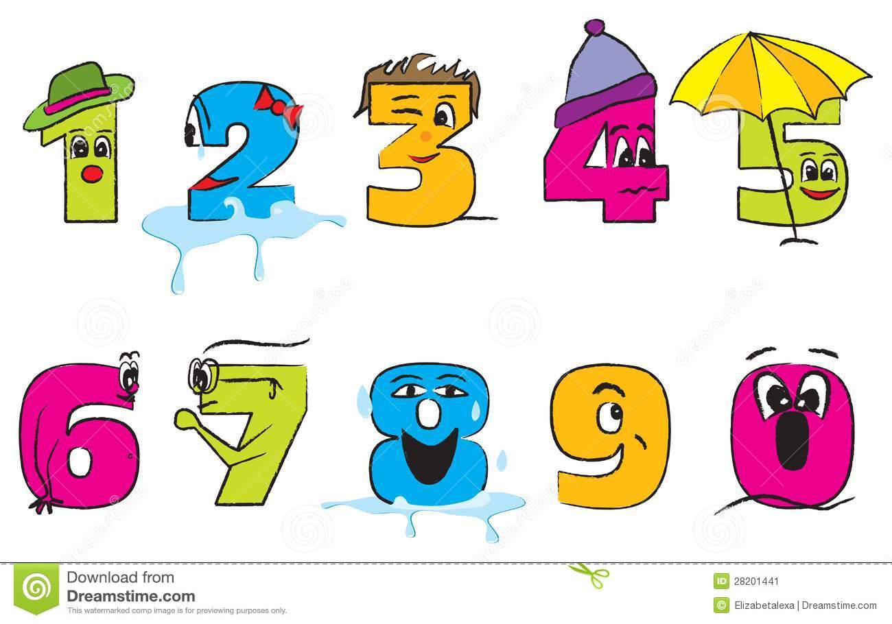 Happy Colorful Numbers From Zero To Nine Stock Image