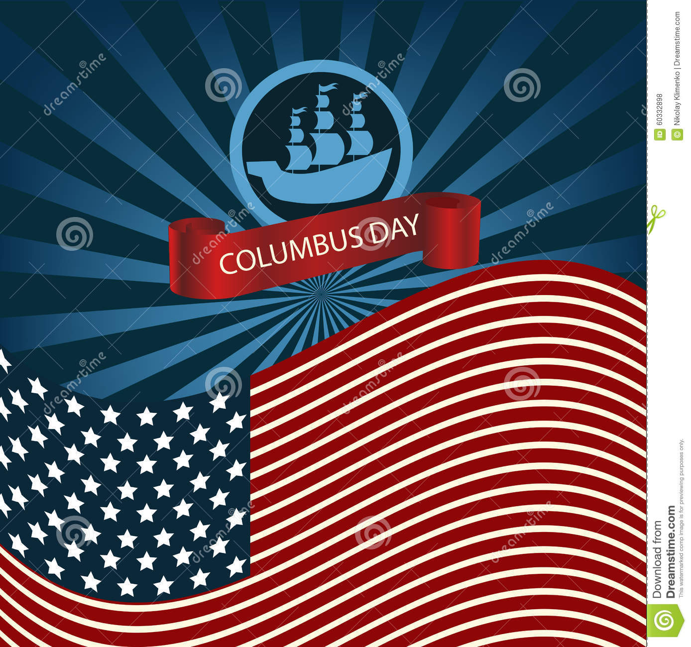 Columbus (IN) United States  city images : Happy Columbus Day Ship Holiday Poster United States America Fla Stock ...