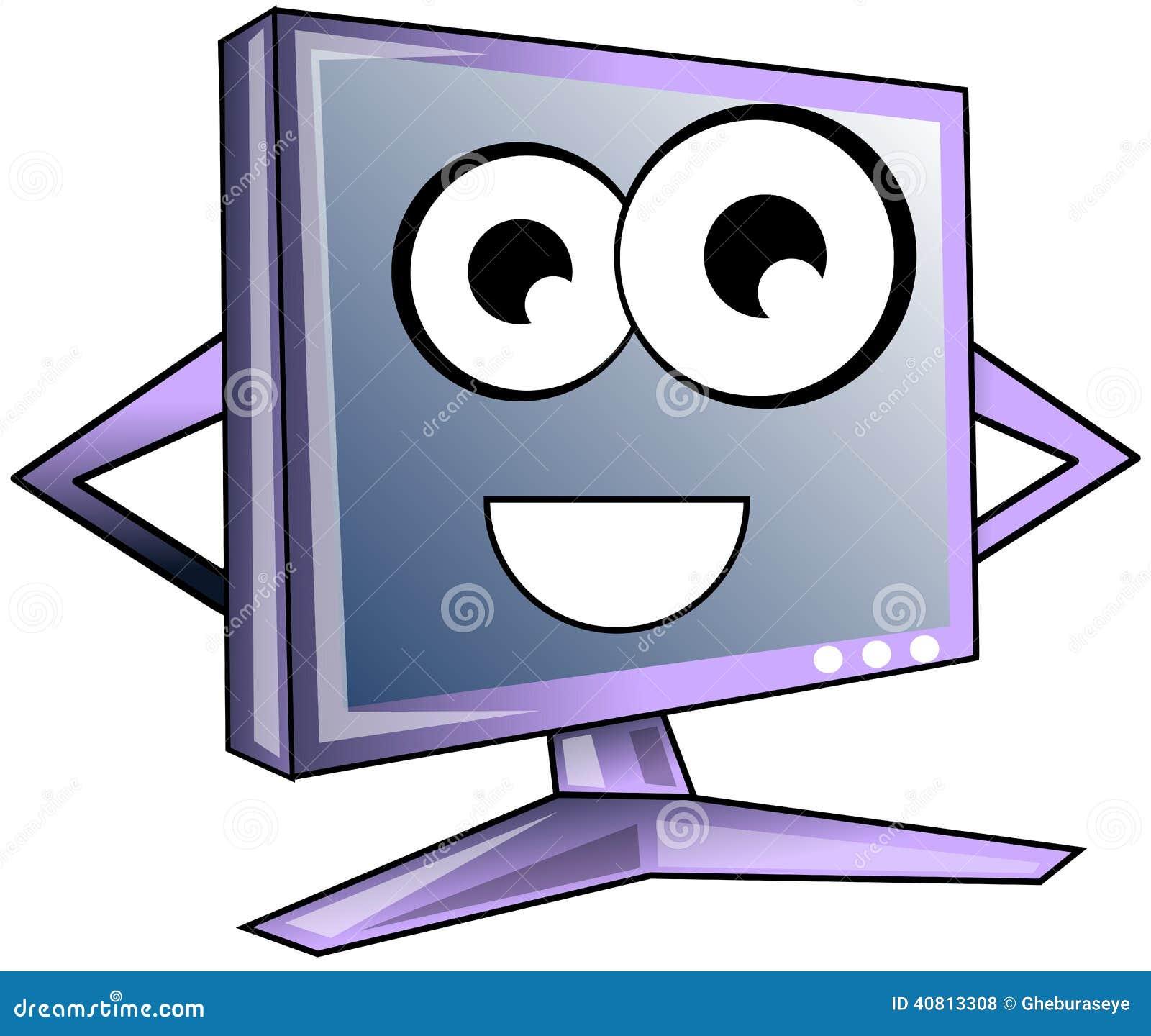 Happy Computer Cartoon In Light Blue Tones Isolated Stock