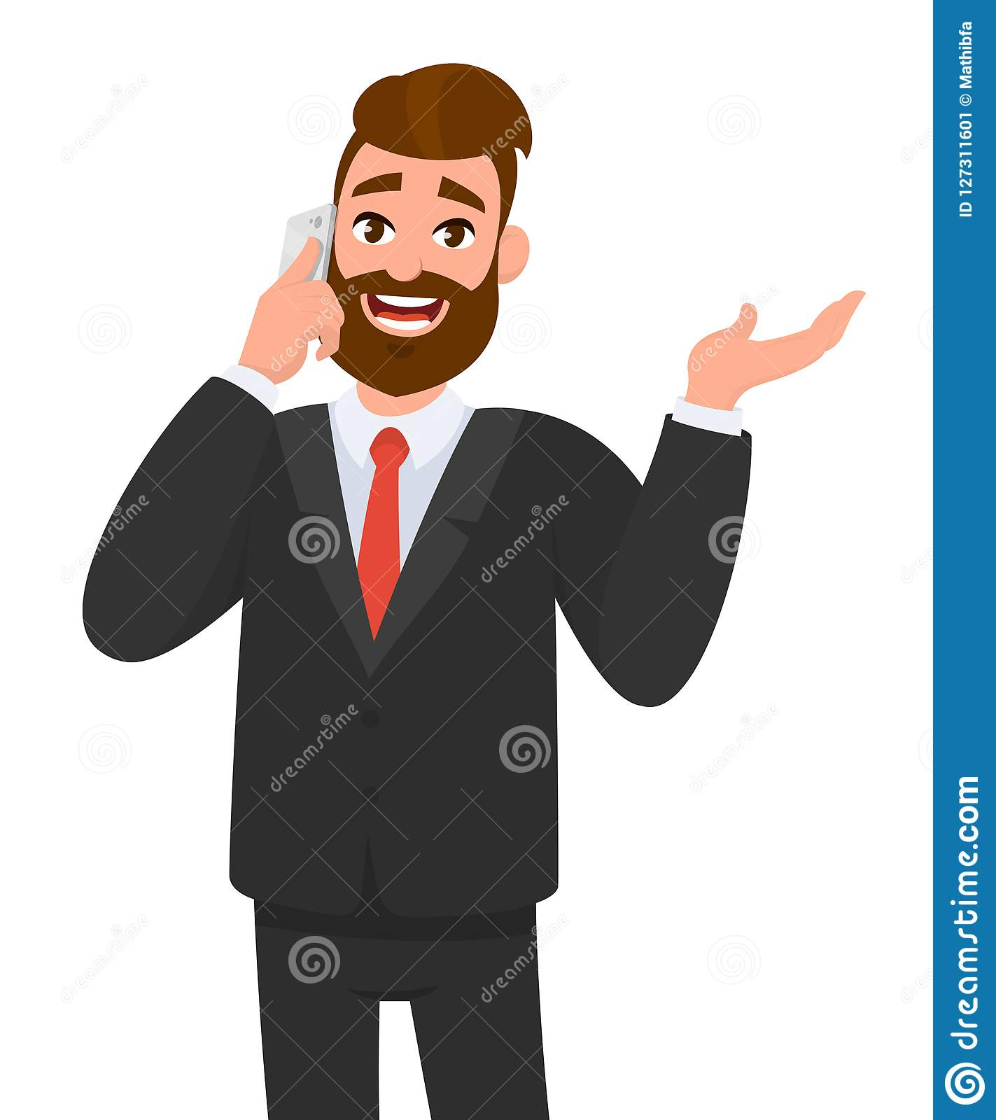 Happy confident businessman speaking on smartphone and gesturing hand to copy space. Business man talking on the mobile phone.