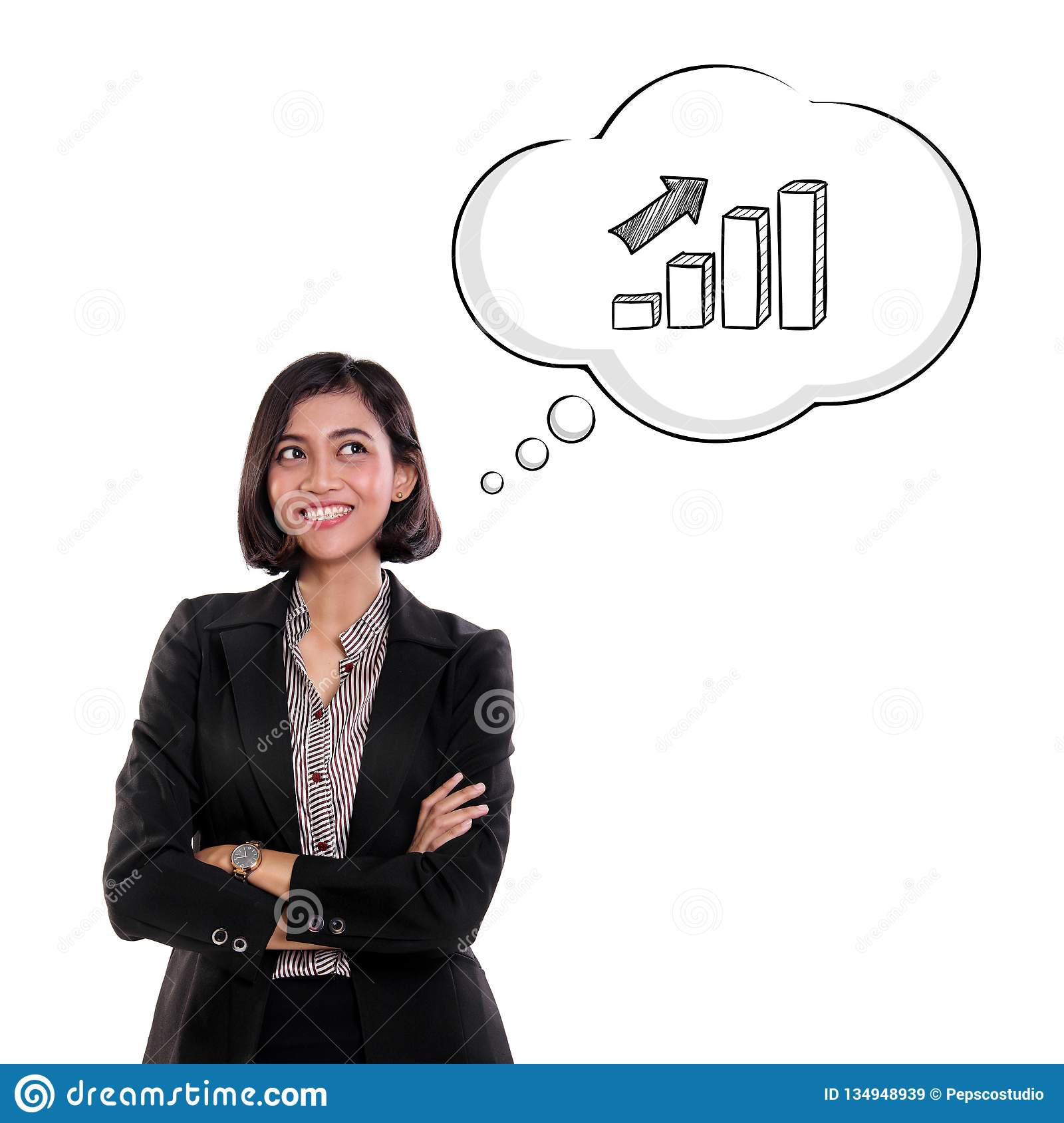 Happy confident young businesswoman thinking about improvement, isolated on white