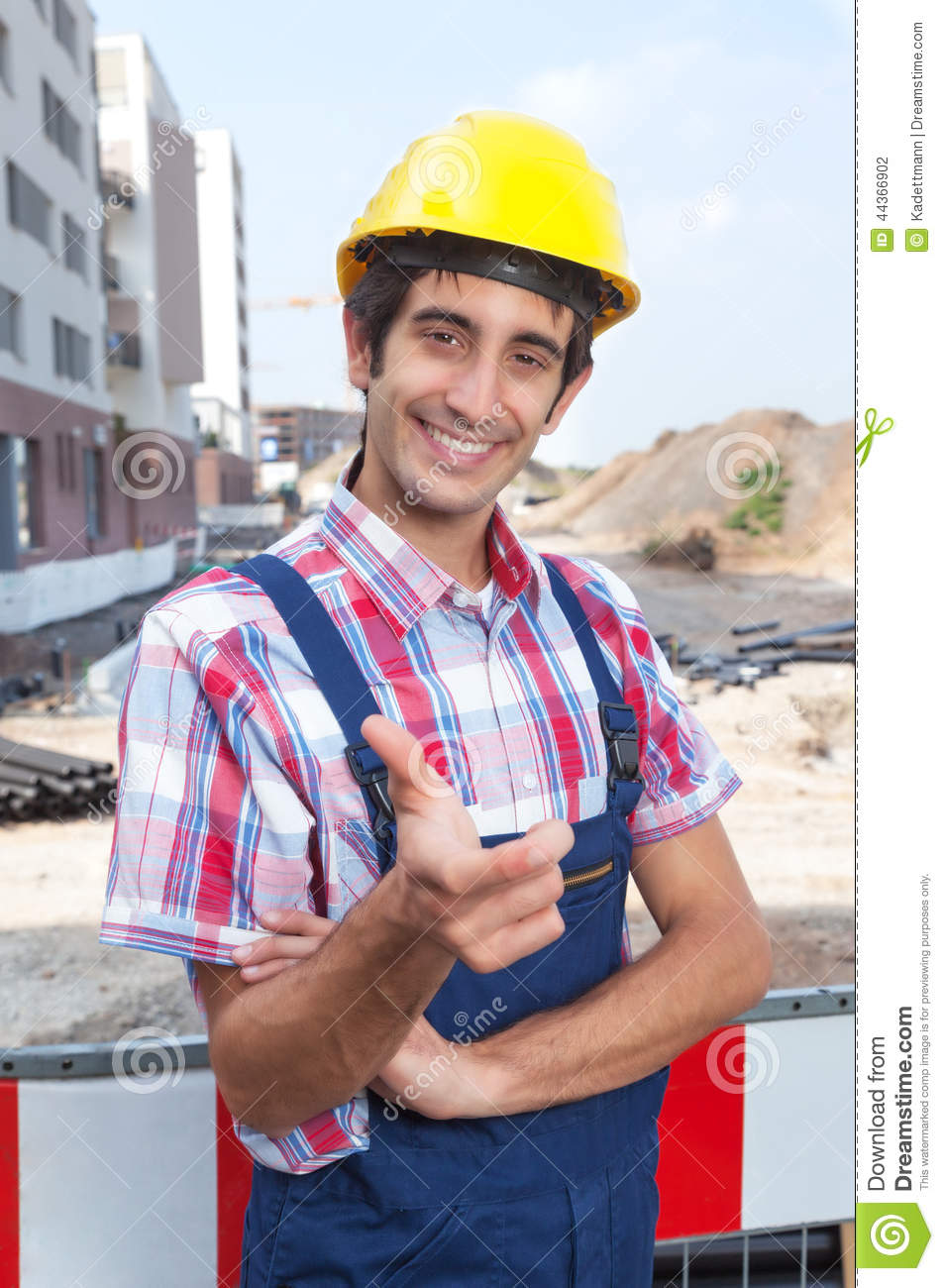 Happy Construction Worker With Black Hair