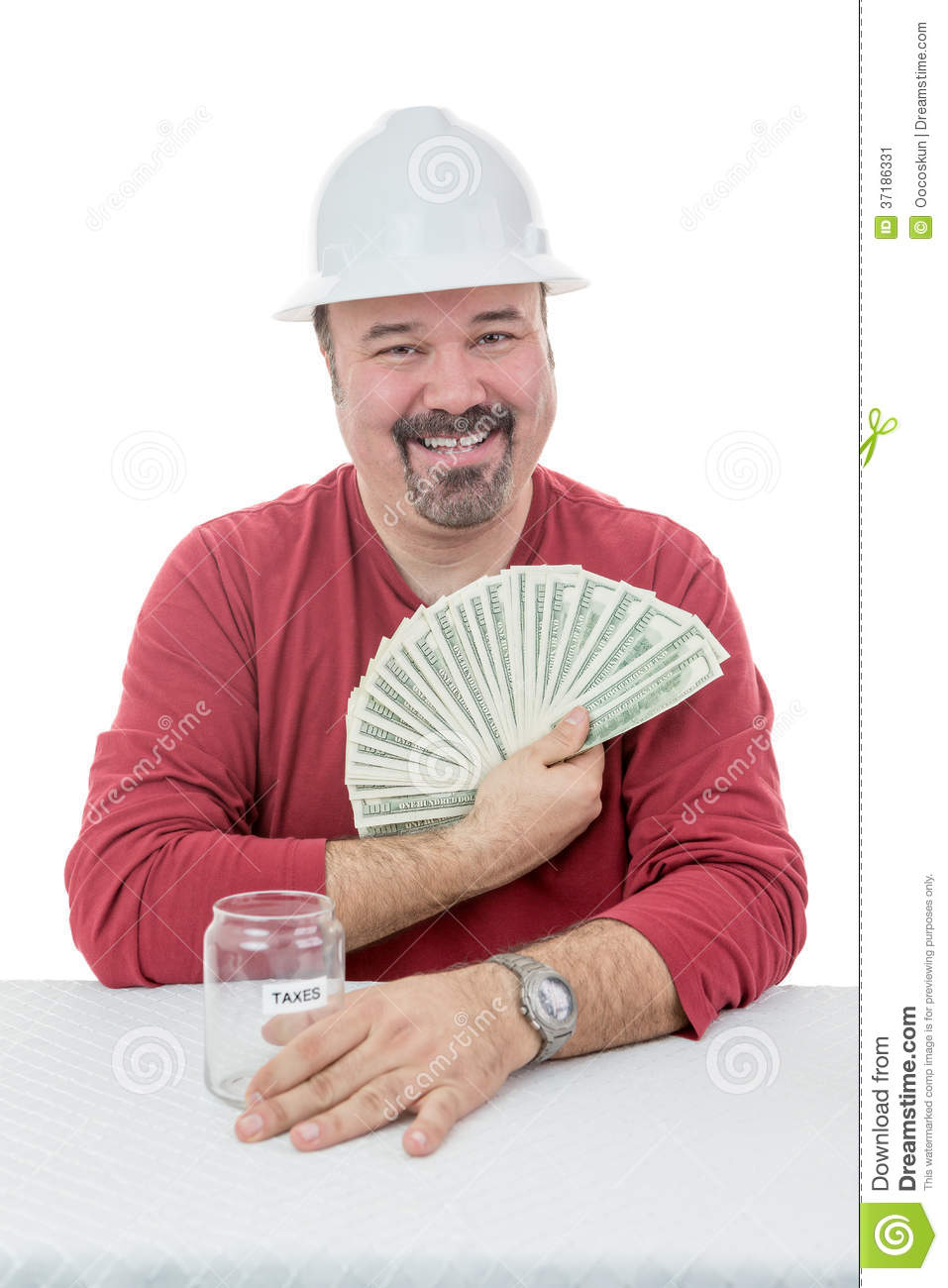 Happy Construction Worker Holding On To Tax Money Stock