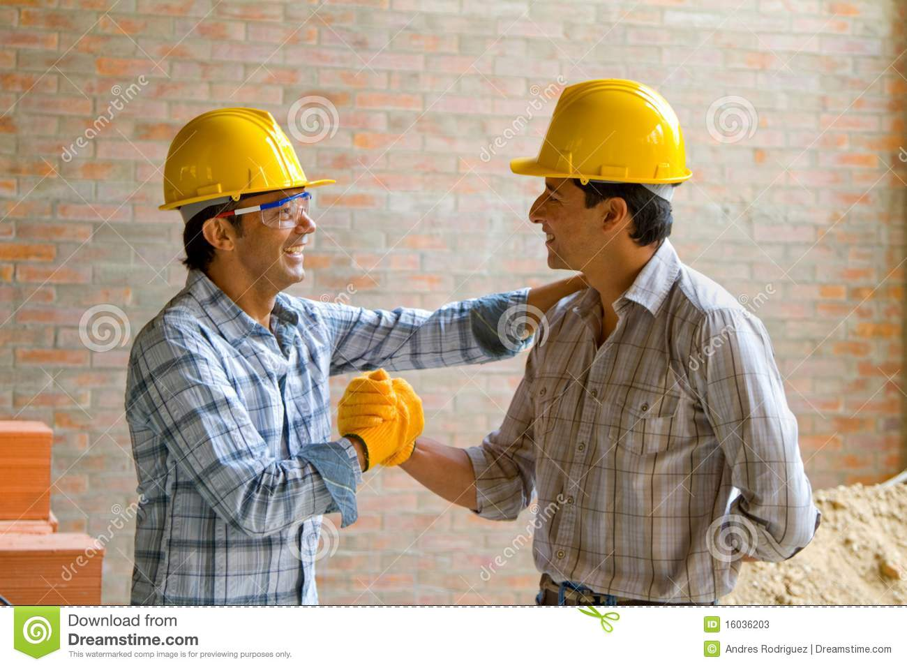 Happy Construction Workers Stock Image Image Of