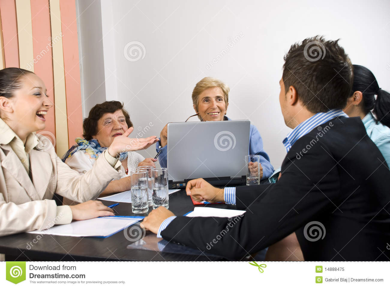 Happy Conversation At Business Meeting Royalty Free Stock Photo ...