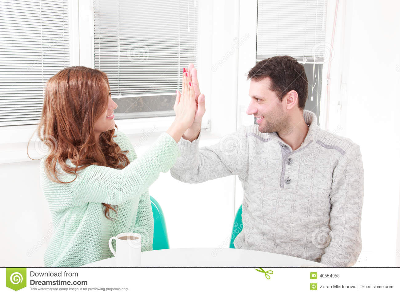 Happy couple agrees with the agreement