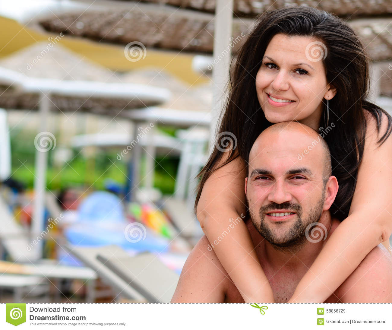 Happy Couple On The Beach Stock Image. Image Of Kissing