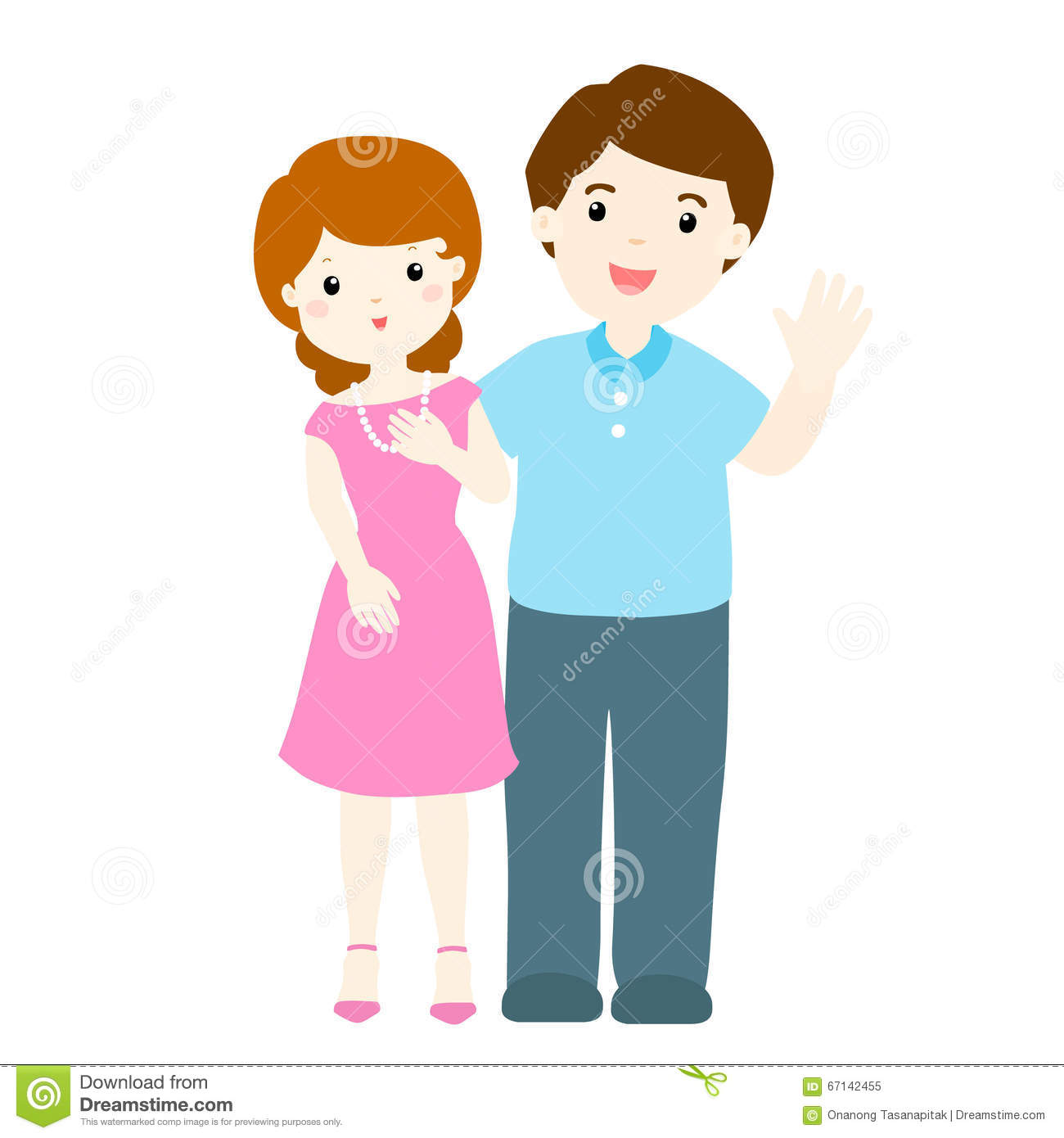 Cartoon Characters Couples : Happy couple cartoon character stock vector image
