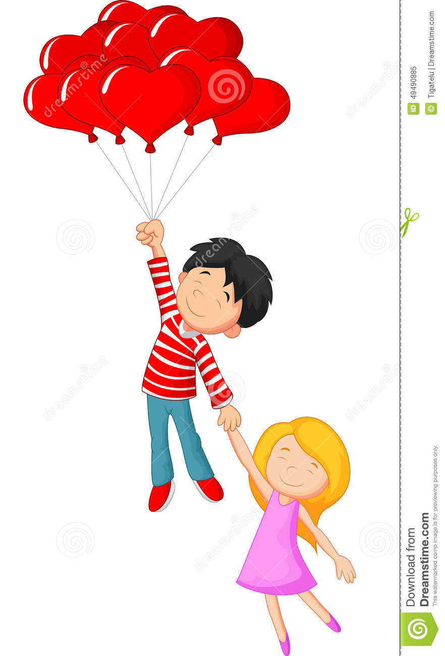 Love Balloon With cartoon Wallpaper : Happy couple cartoon Flying With Love Shape Balloon Stock Vector - Illustration: 49490885