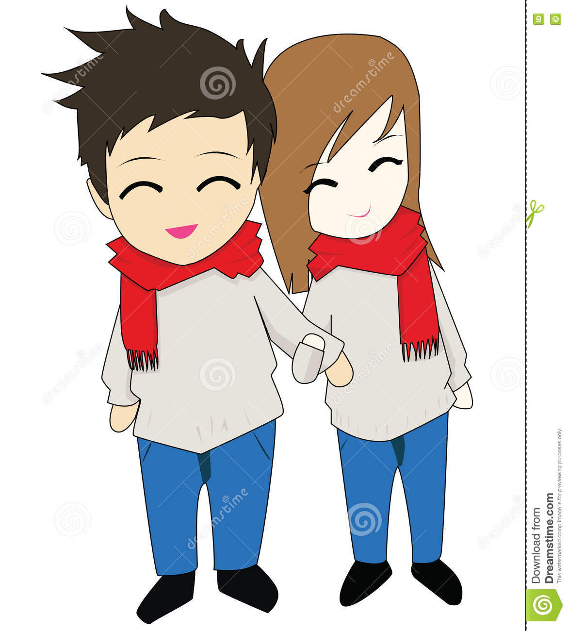 Happy couple with red scarf and same shirt holding hand each other