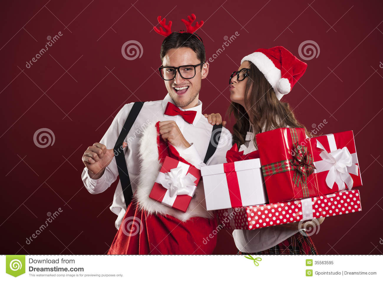 Happy Couple In Christmas Time Stock Image - Image of ...