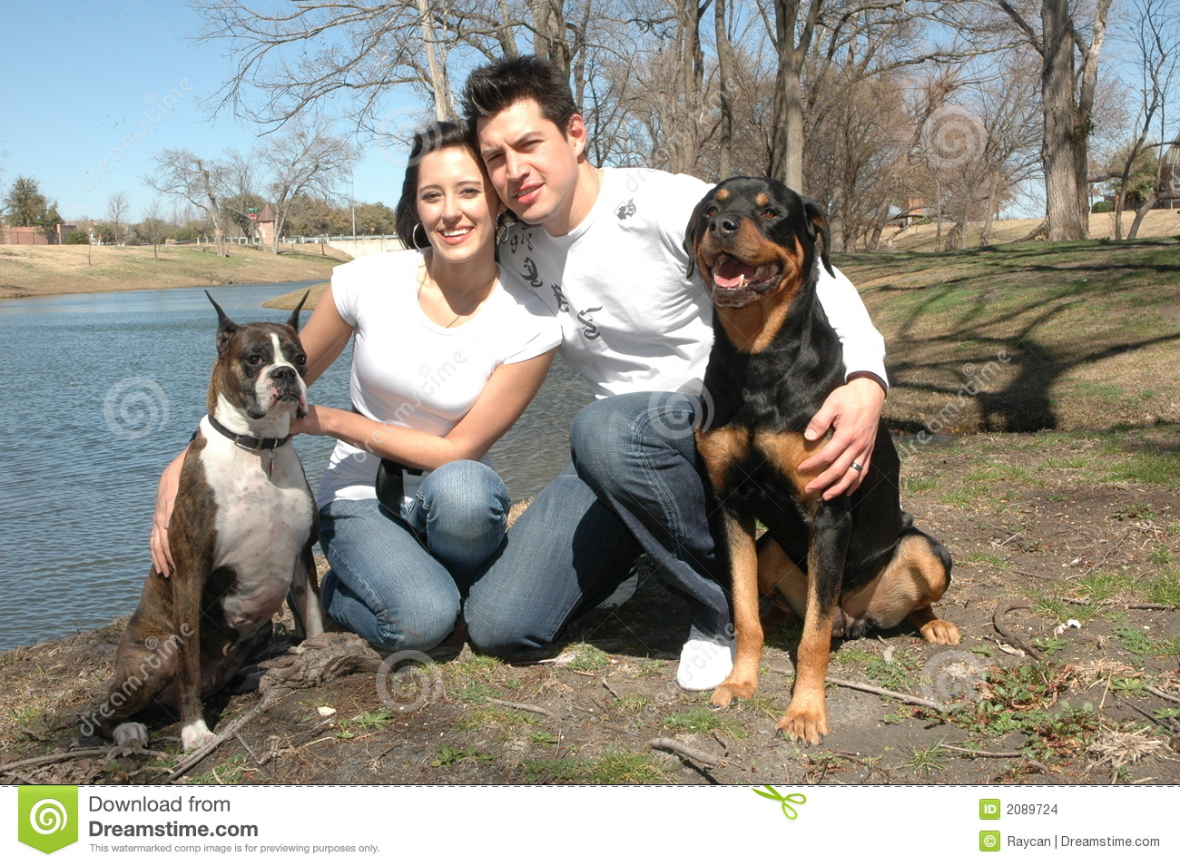 Happy Couple With Dogs Stock Images Image 2089724