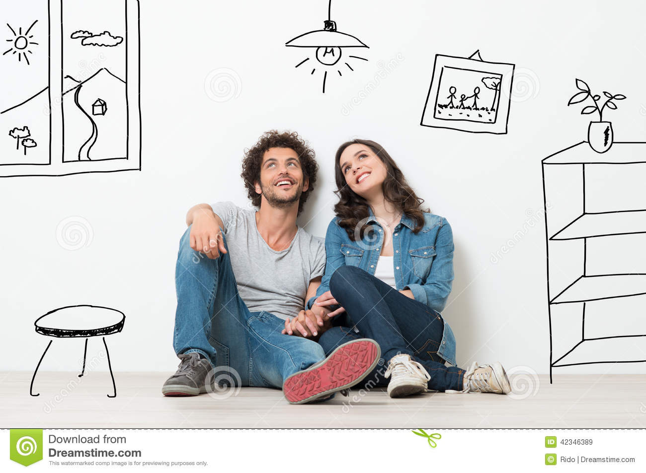 happy couple dream new home stock image   image 42346389