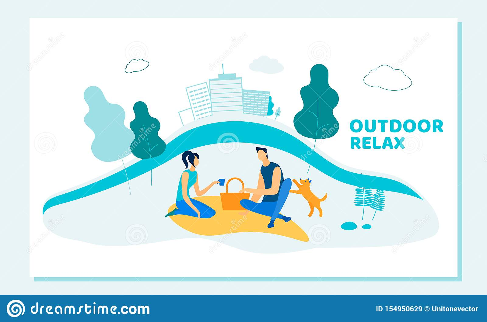 Happy Couple Dating Outdoors on Picnic with Pet.