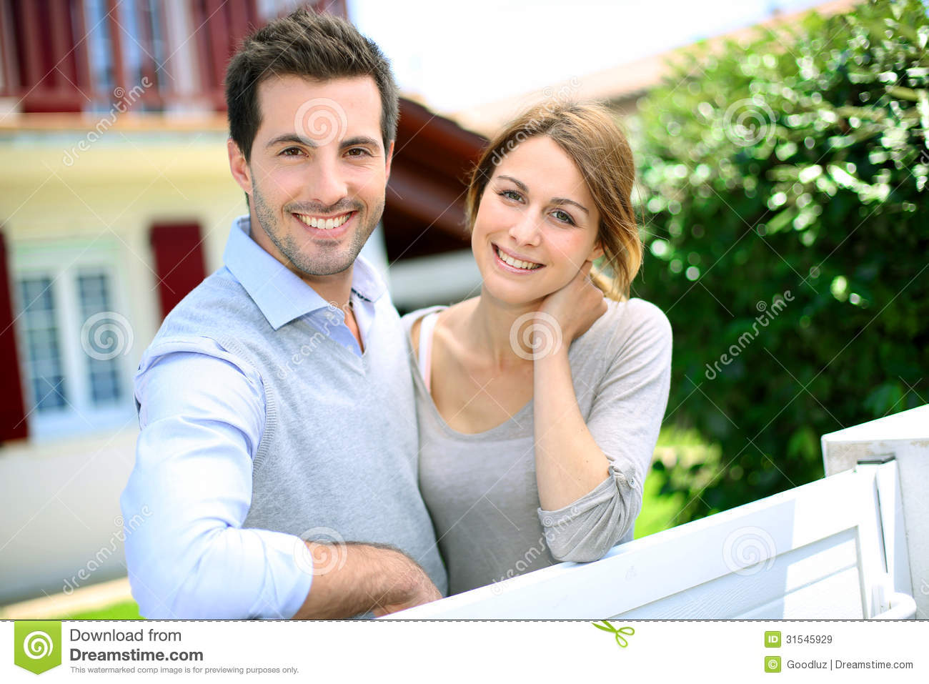 Happy couple in front of house royalty free stock images image 31545929 - Young couple modern homes ...