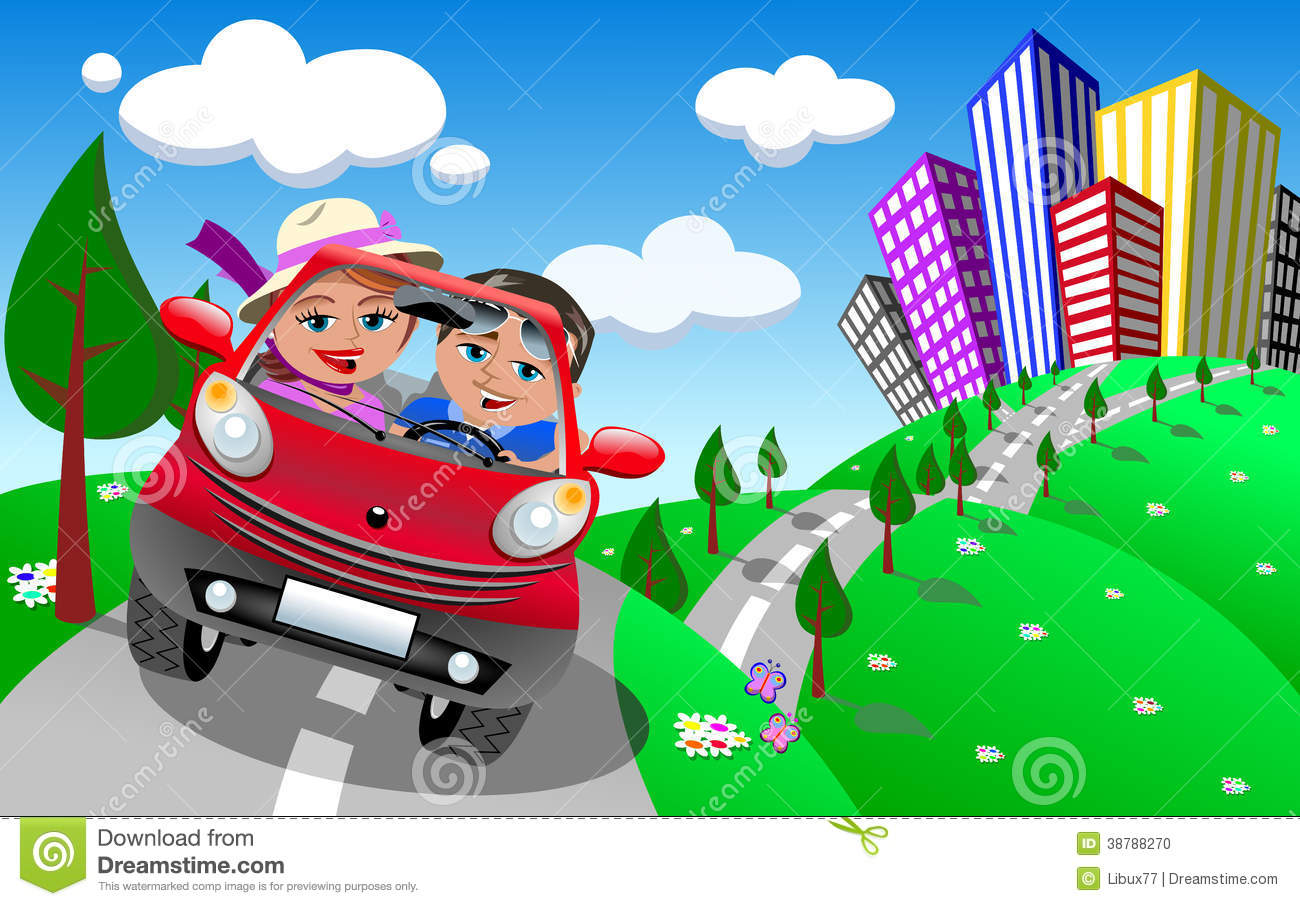Illustration featuring Bob and Meg in red small cartoon coupe car ...
