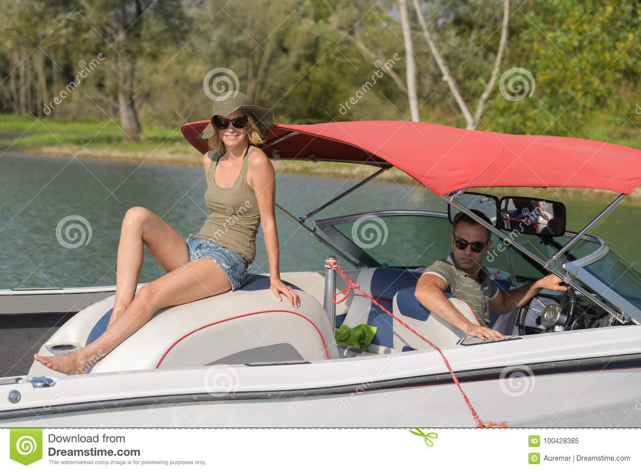 Happy couple having their holidays on boat