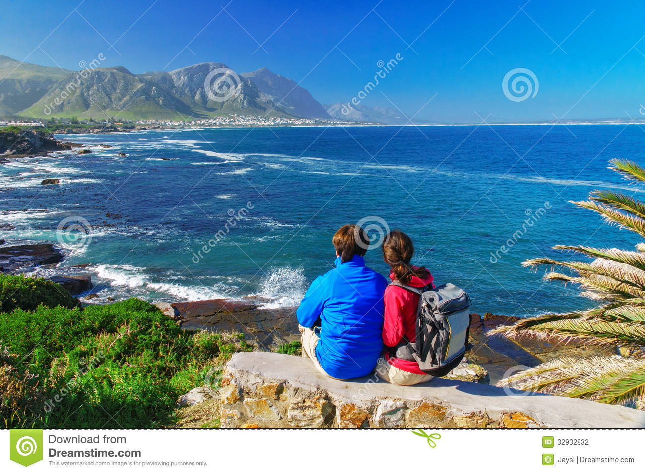 Happy Couple Looking At Beautiful Ocean View Stock