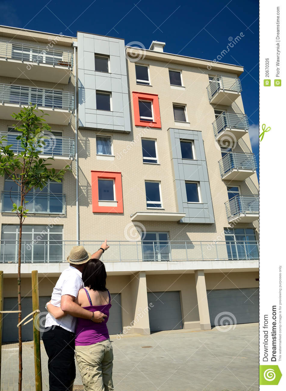 Happy Couple Looking For New Apartments Royalty Free Stock