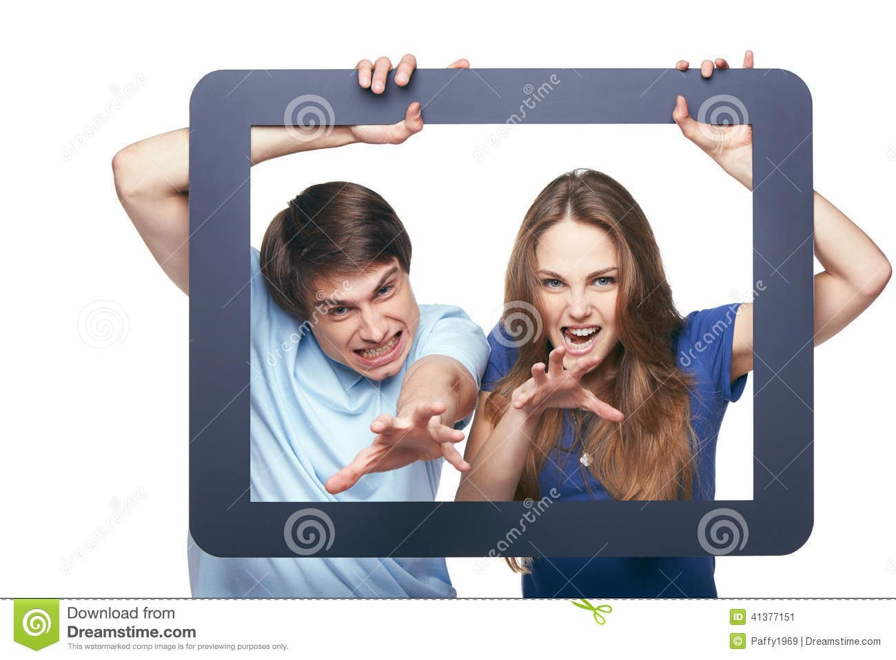 Happy Couple Looking Through Tablet Frame Stock Image - Image of ...