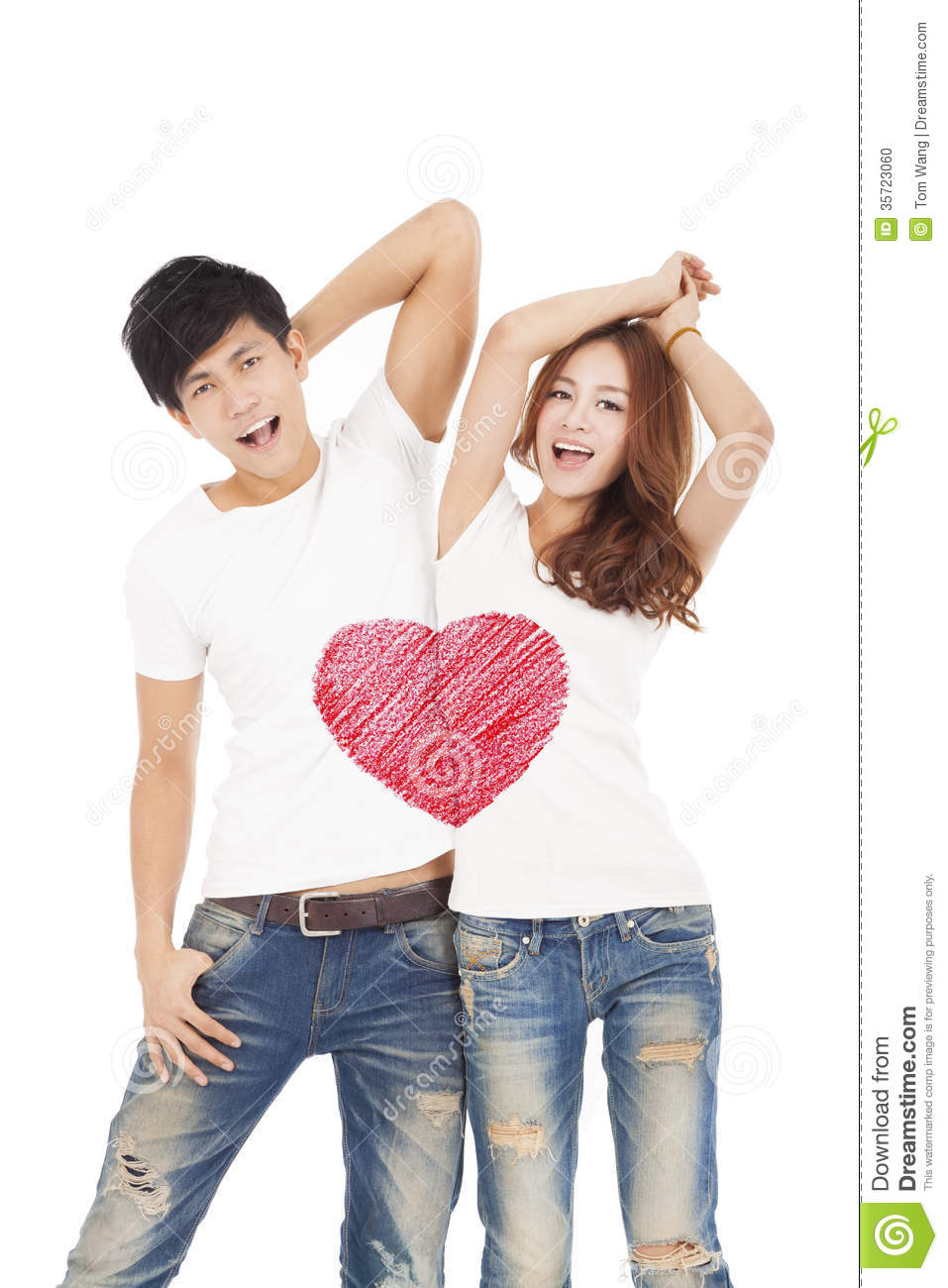 Happy Couple With Love Heart Symbol Design On The Whit T Shirt Stock