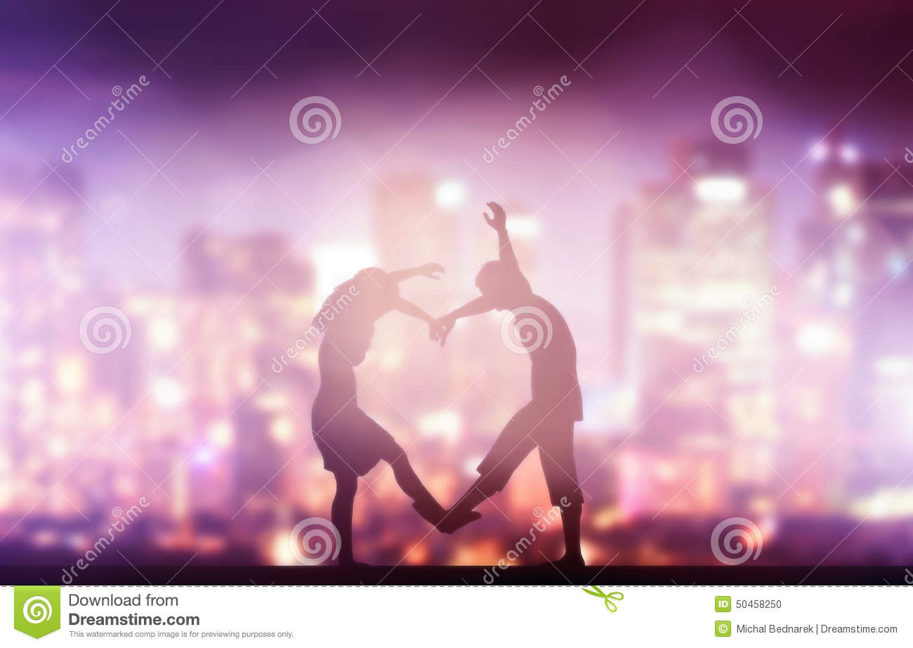 Love Making Wallpapers : Happy couple In Love Making Heart Shape. city Stock Photo ...
