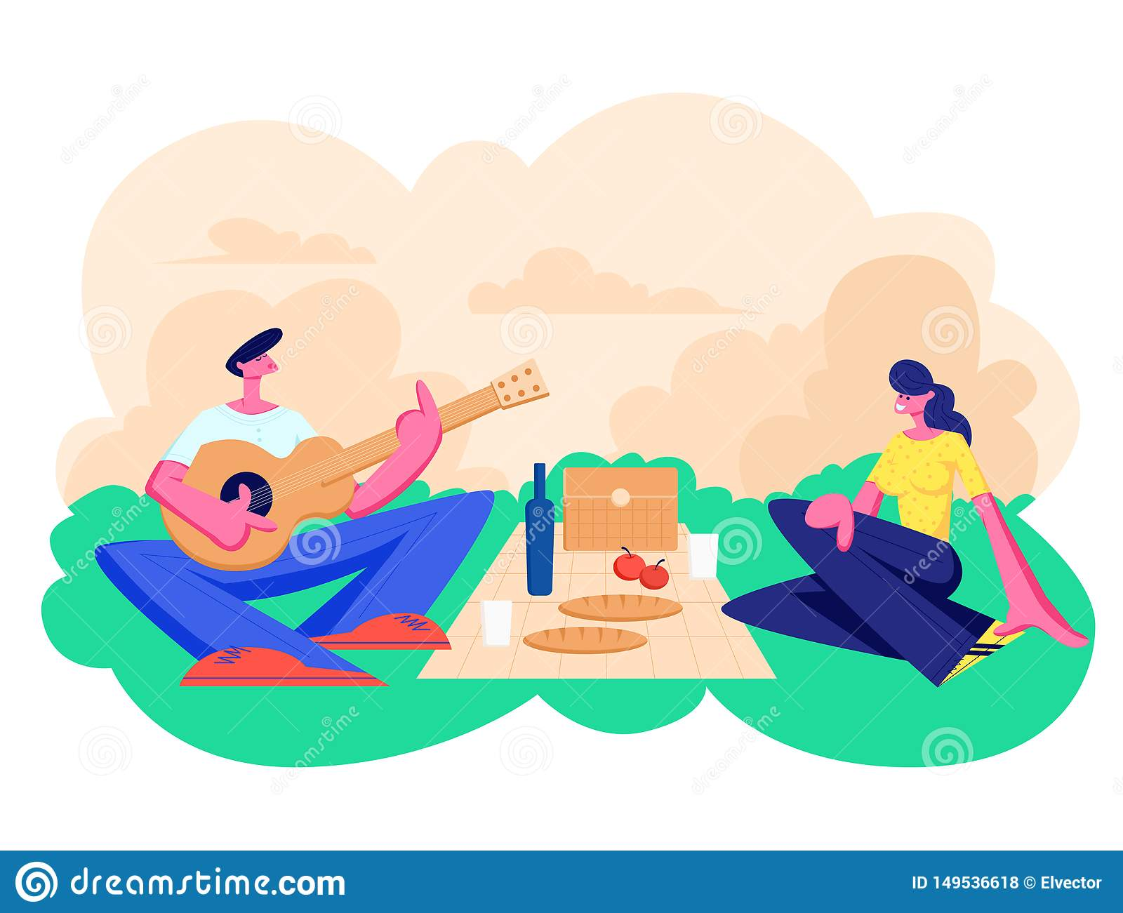Happy Couple of Male and Female Characters Dating Outdoors on Picnic. Declaration of Love, Young Man Playing Guitar, Singing Song