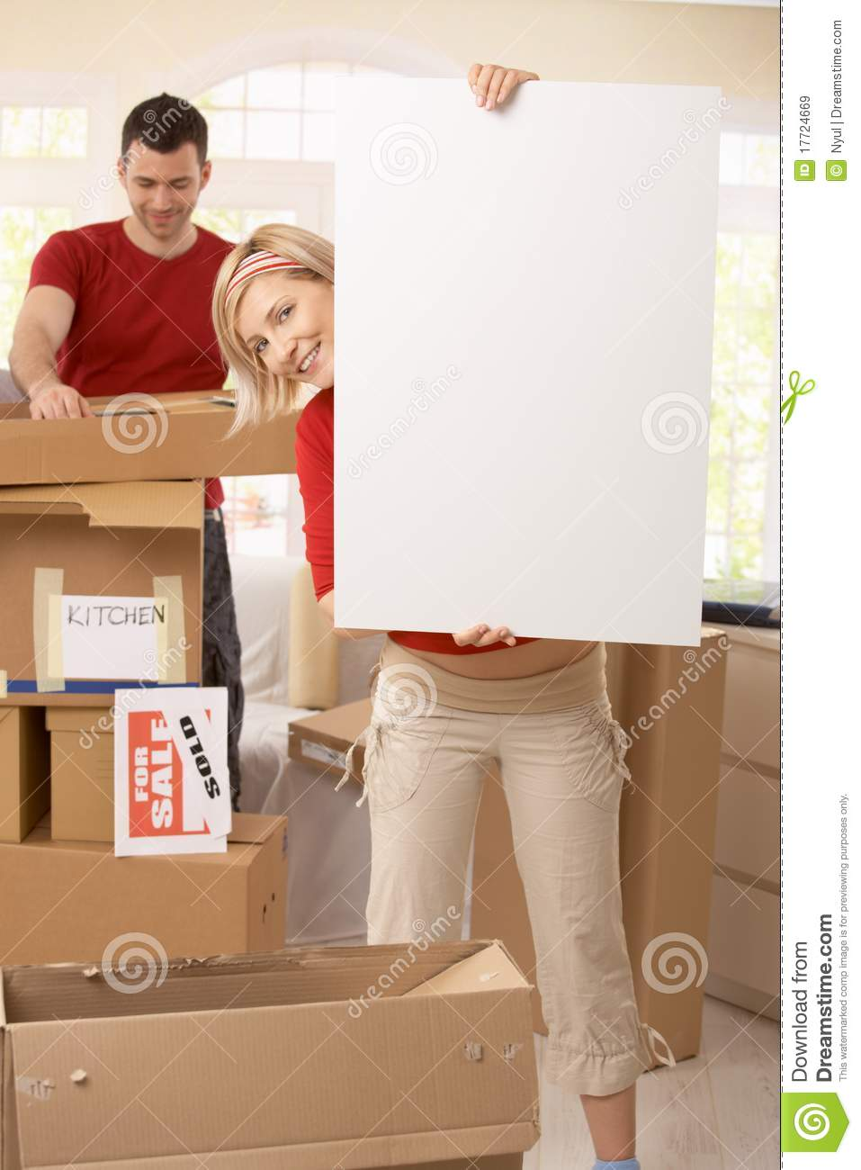 Happy couple moving into new place royalty free stock for Moving items into place