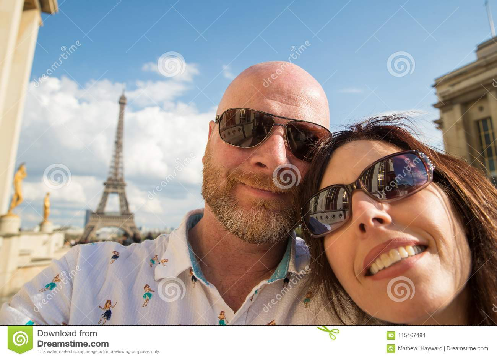 Happy couple in Paris, France