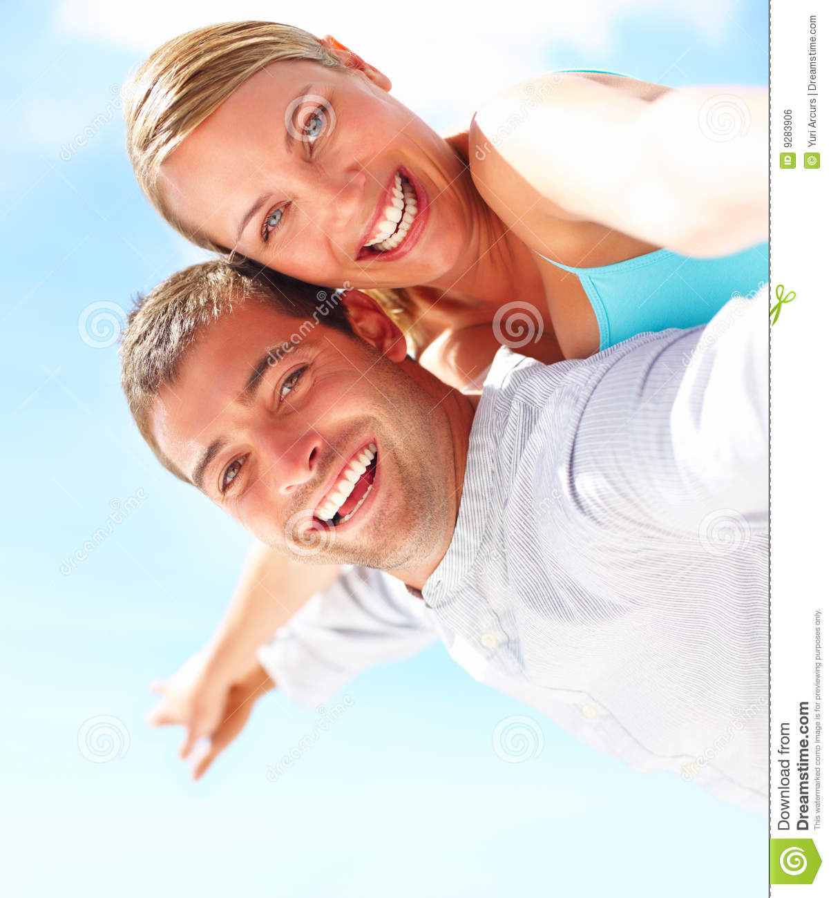 Happy Couple In A Playful Mood Stock Photo