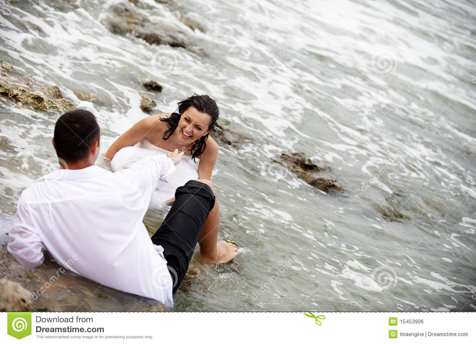 Happy Couple Portrait - Trash The Wedding Dress Stock Photo - Image ...
