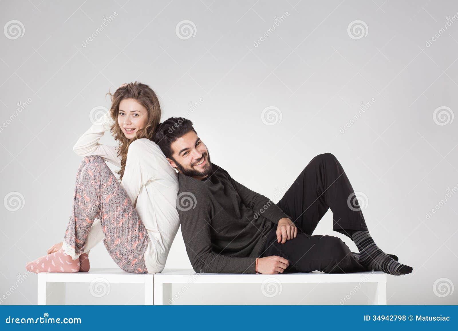 Happy Couple In Pyjama Posing In The Studio Royalty Free Stock Photos ...