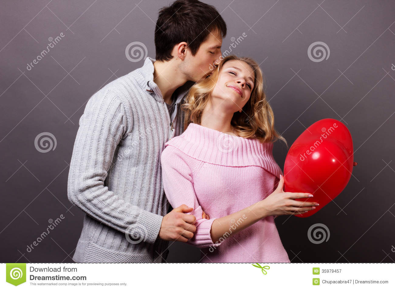 Happy Couple With Red Balloon Valentines Day Stock Image Image Of