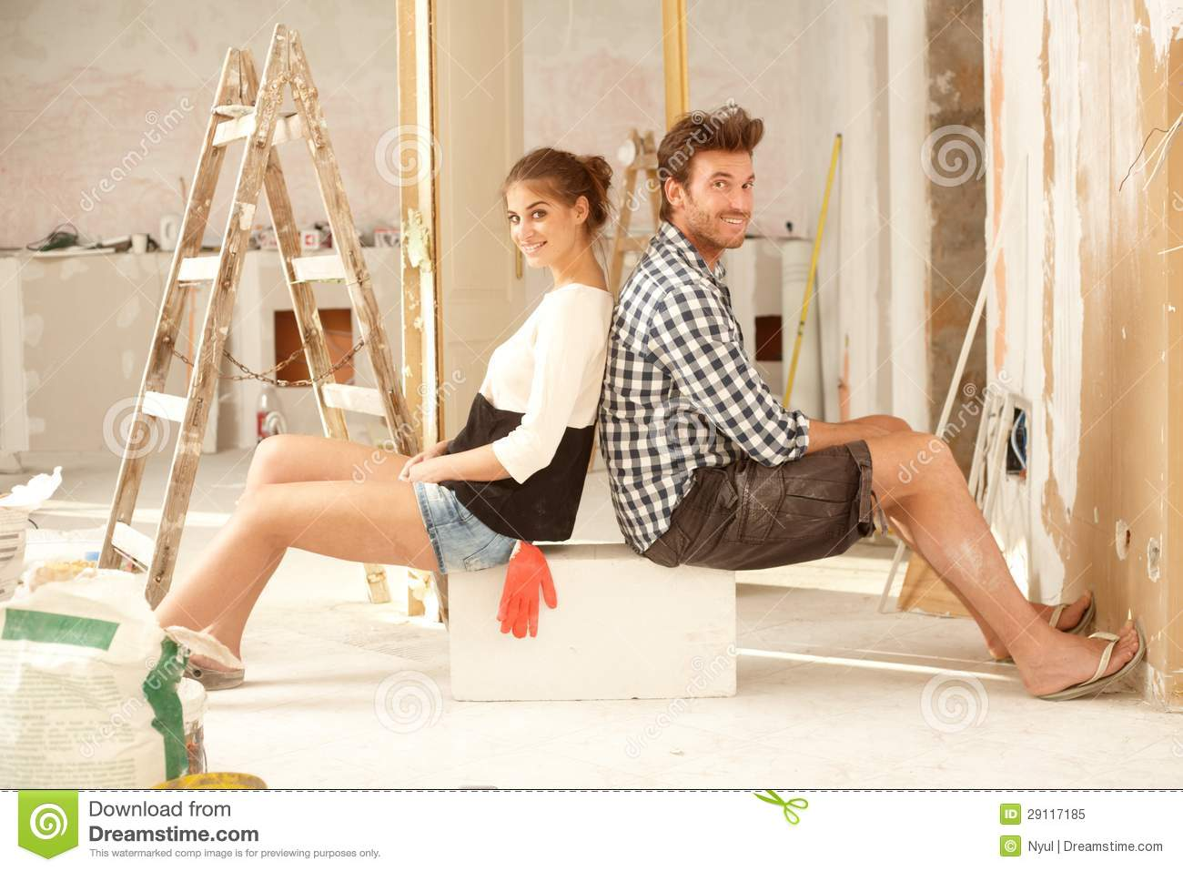 Happy Couple Renovating Home Stock Image Image Of