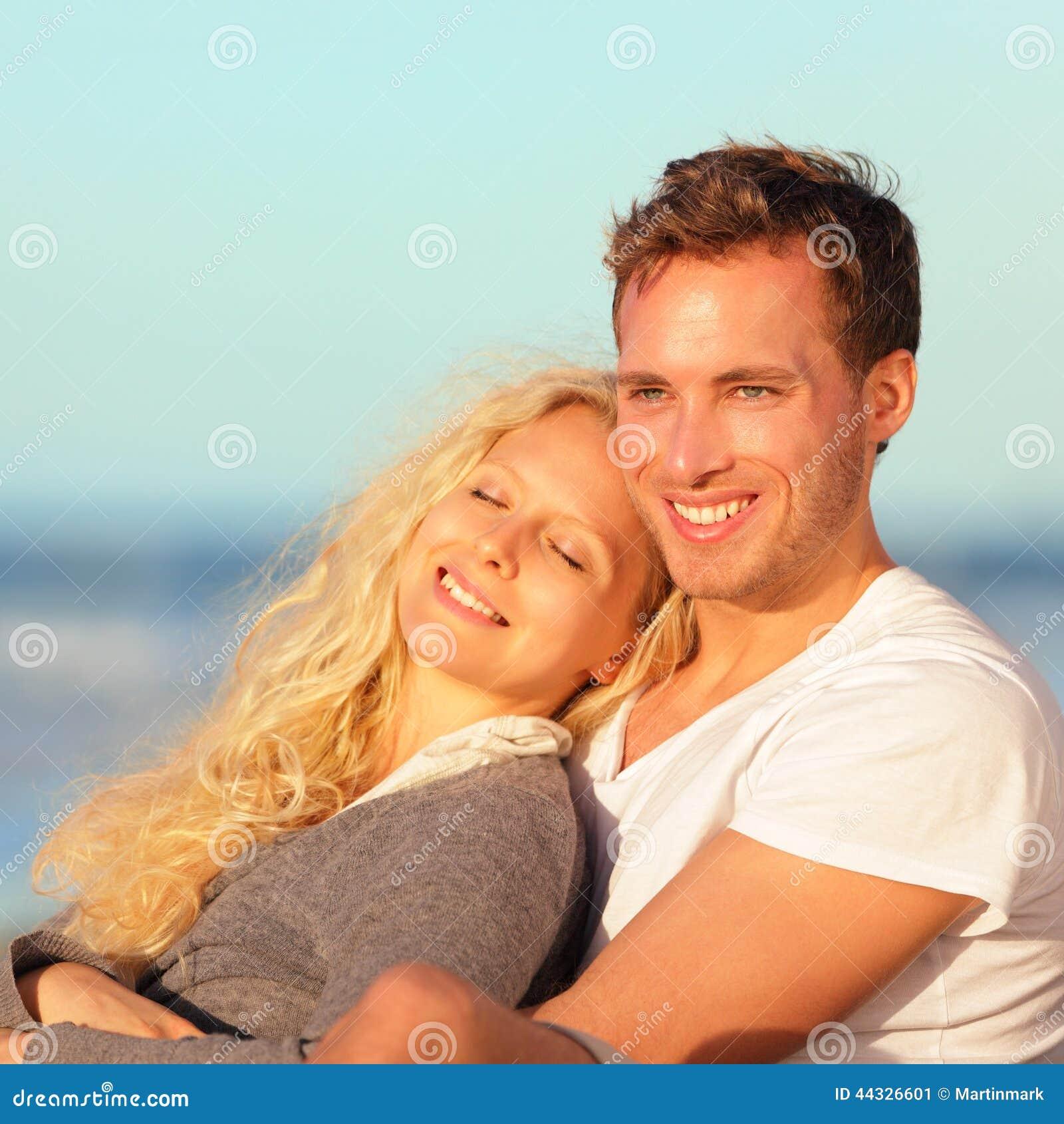 Happy Beautiful Woman Enjoying At Beach Stock Photo: Happy Couple Romantic Lovers Relaxing At Beach Stock Image