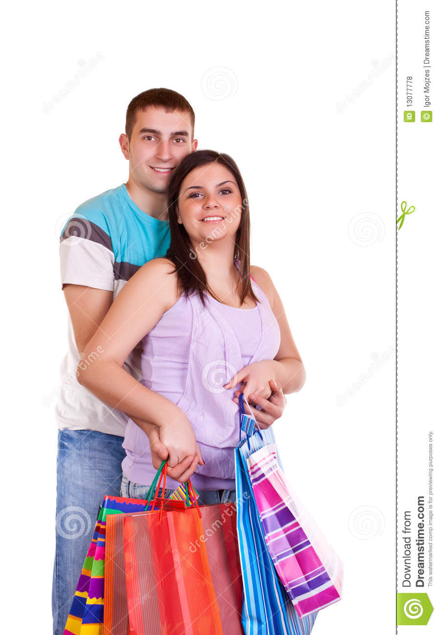 Happy Couple With Shopping Bags Stock Photo - Image of ...