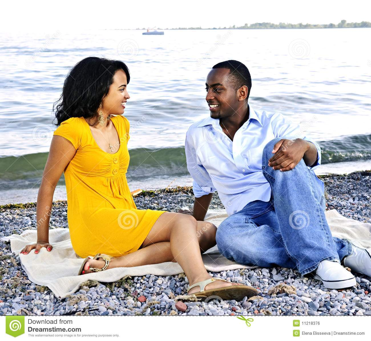 Couple At The Beach Stock Image Image Of Caucasian: Happy Couple Sitting At Beach Stock Photo