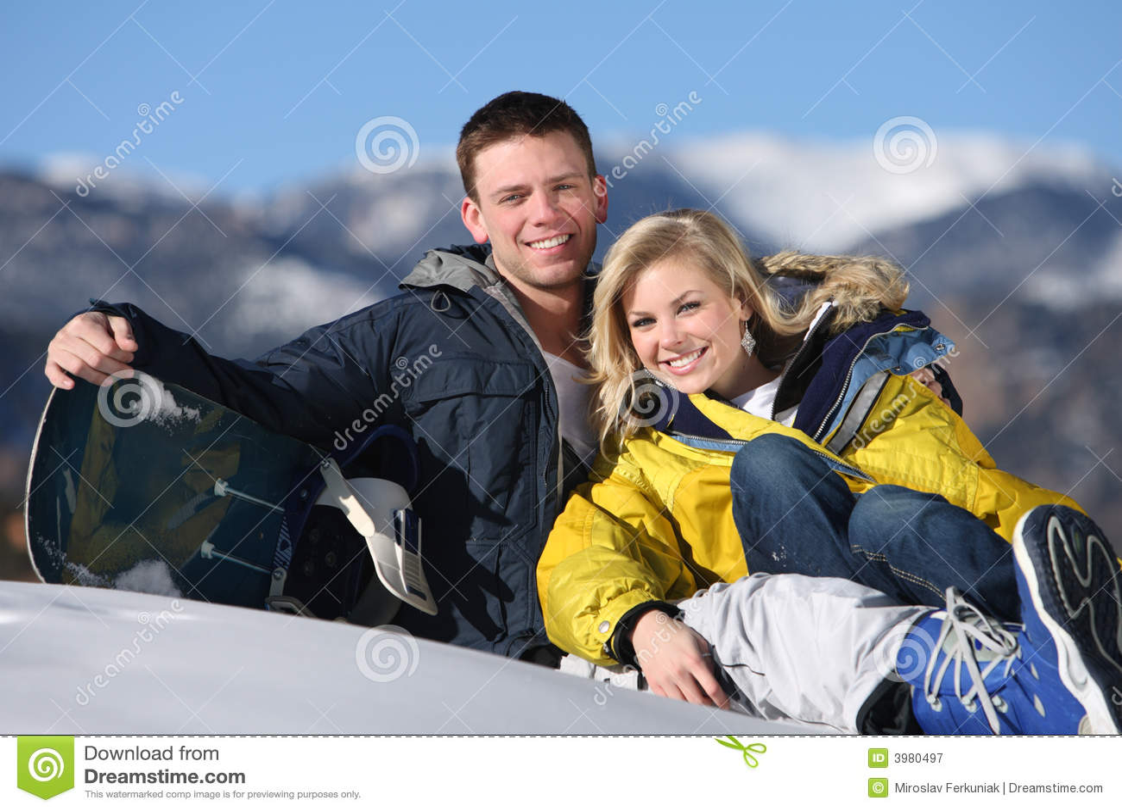 Happy couple at ski resort