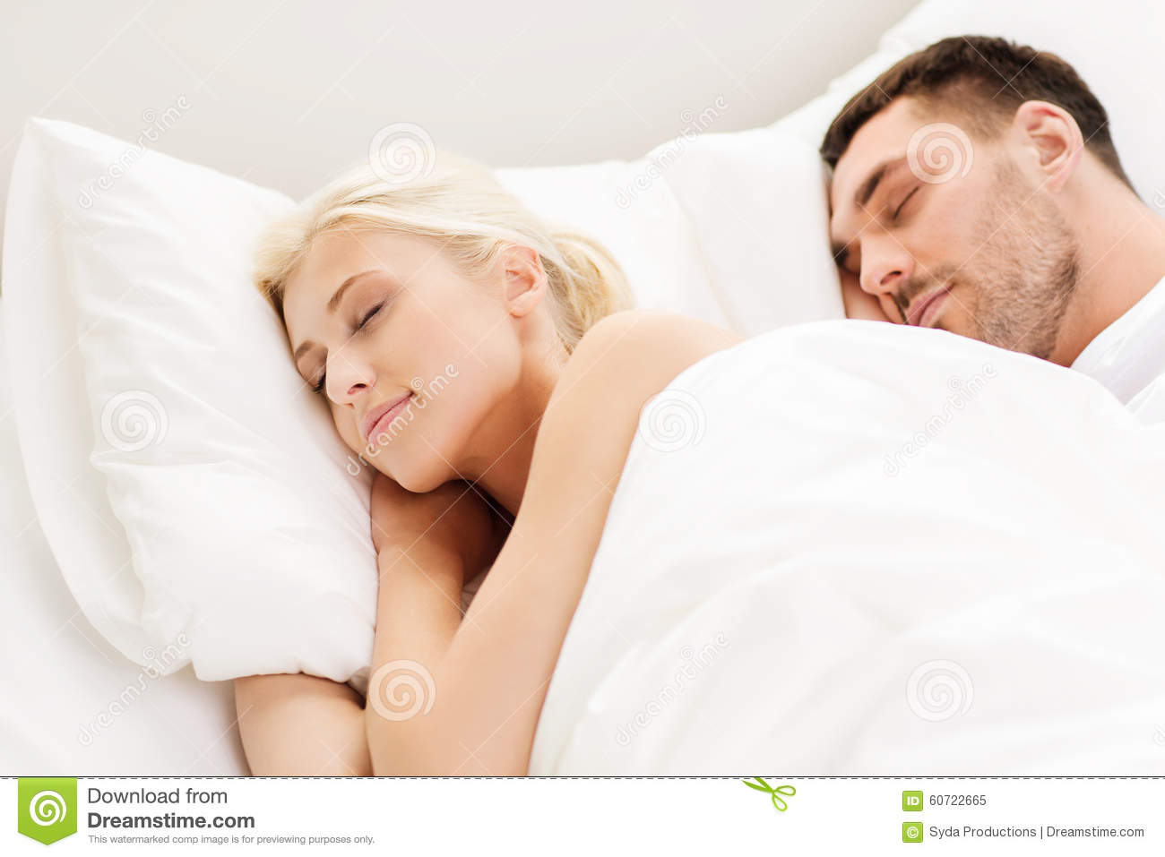 Happy couple sleeping in bed at home stock photo image for Sleeping bed